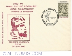 2050 years - The first and centralized unitary and independent state led by Burebista - Philatelic Exhibition Buzau 24-31.01.1980