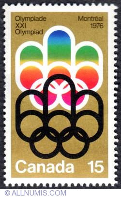 Imaginea #1 a 15¢ Symbol of the Montreal Games 1973