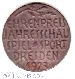 """Image #1 of German Empire, Dresden, honorary award medal of the 1923 """"Annual Sport Show"""" Honorific Price"""