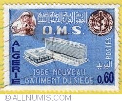 Image #1 of 0,60 Dinar OMS (Building of the WHO) 1966