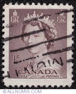 Imaginea #1 a 1¢ Queen Elizabeth II 1953
