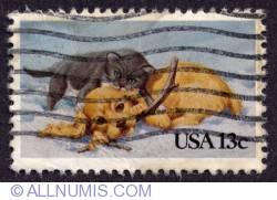 Image #1 of 13¢ Kitten & Puppy 1983