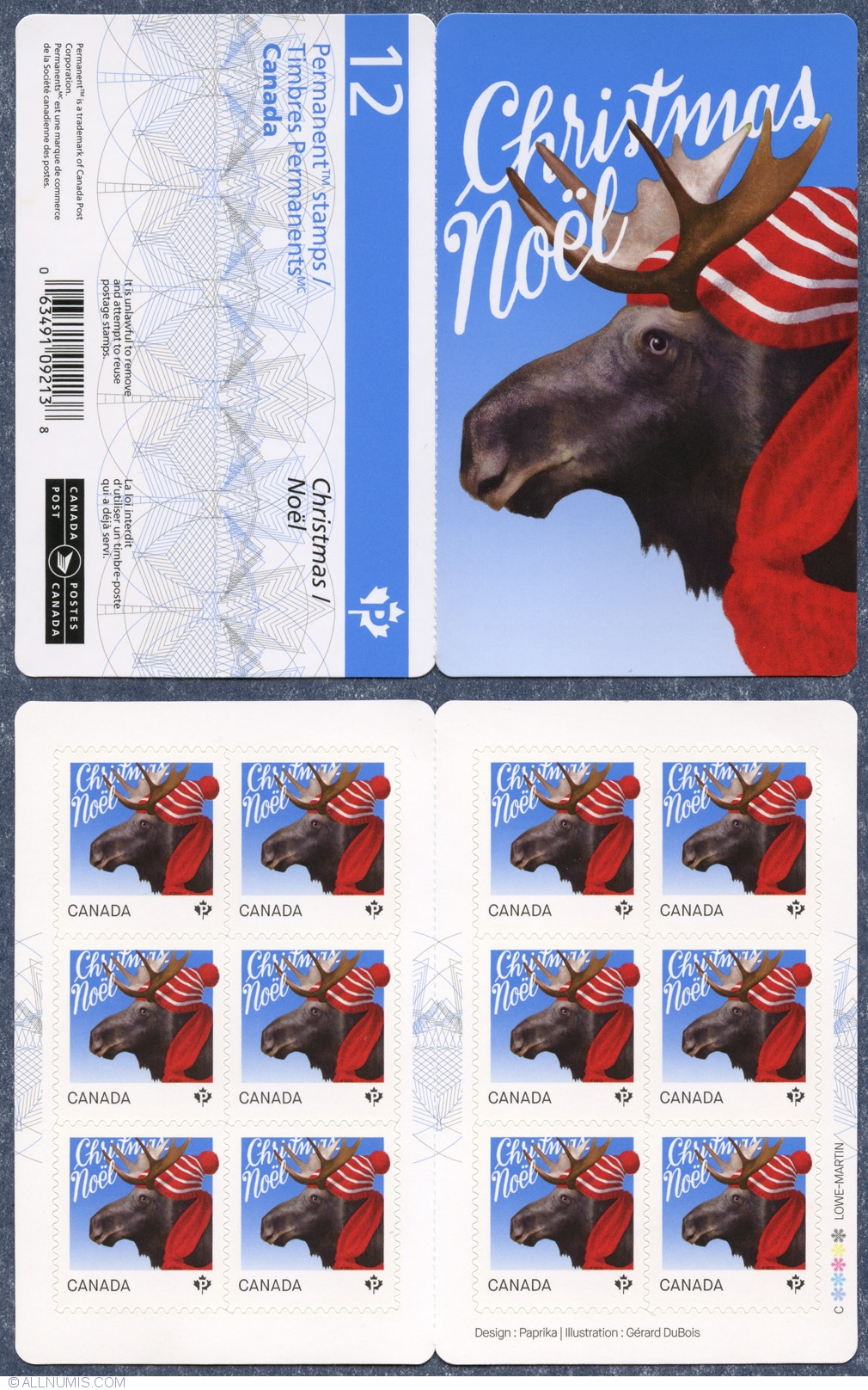 Christmas Stamps 2019.P Christmas Moose Booklet 2015 2010 2019 Canada Stamp