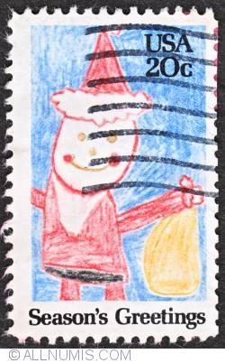 Image #1 of 20¢ 1984 - Santa Claus drawing