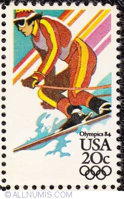 Image #1 of 20¢ Sarajevo Winter Olympics-Downhill skiing 1984