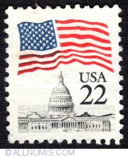Image #1 of 22¢ 1985 - Flag over Capitol