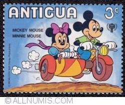 Image #1 of 3¢ Mickey & Minnie Mouse in a sidecar 1980