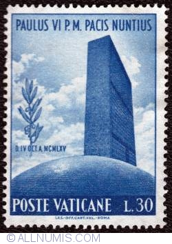 Image #1 of 30 Lire 1965 - Pope visit to the U.N.O.