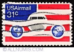 Image #1 of 31¢ Plane, Gloves - Flag