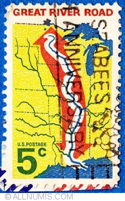 Image #1 of 5¢ Map of Great River Road. Opening of Great River Road 1966