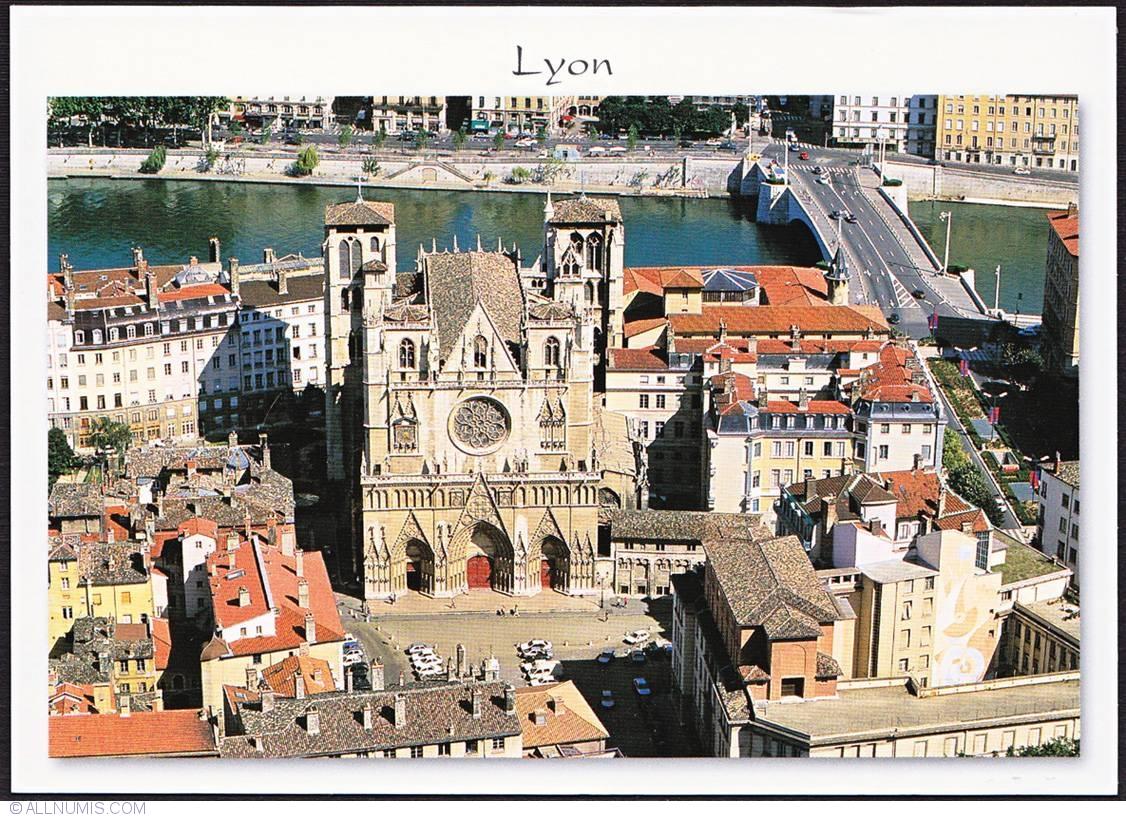 lyon  st-jean cathedral view from fourviere  rh u00f4ne-alpes - france - postcard
