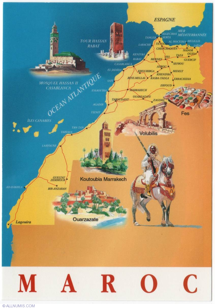Moroccocountry map2010 Tourist generic Morocco Postcard 756 – Morocco Tourist Map