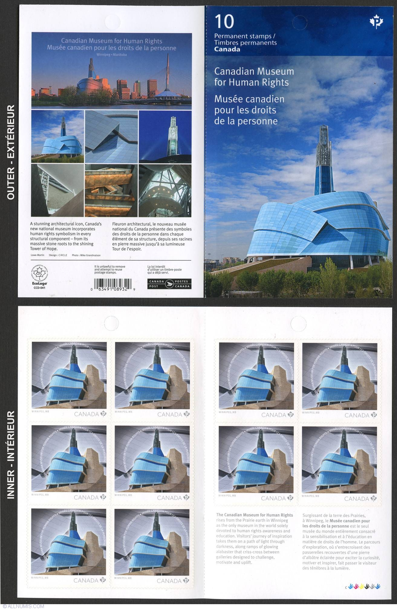 p 2014 canadian museum for human rights booklet of 10 domestic