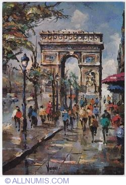 Paris-Arc de Triomphe and Champs Élysées-painting