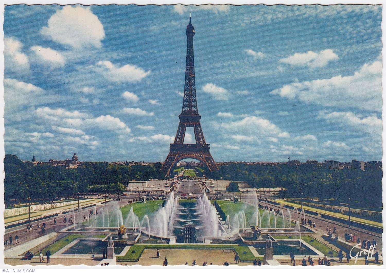 Paris Eiffel Tower And Varsovie Fountains Day 1970 3316