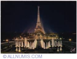 Imaginea #1 a Paris-Eiffel tower and Varsovie Fountains-night-1970