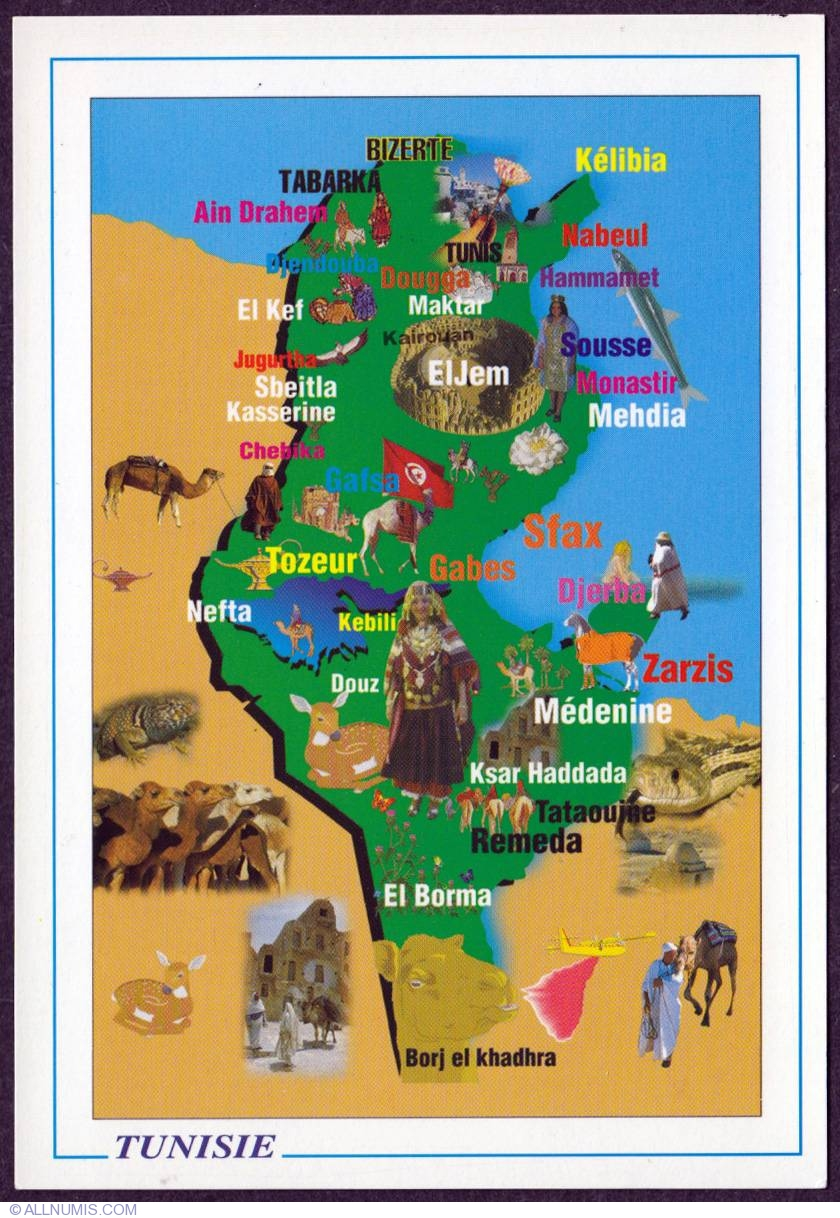 Tunisia Tourist Map Tourist Tunisia Postcard - Map of tunisia