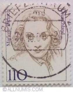 Image #1 of 110 Pfennig 1997 - Marlene Dietrich (1901-1992), actress and singer