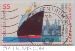 "Image #1 of 55 Euro Cent 2004 - Passenger ship ""Bremen"" In the face of New York cityscape"