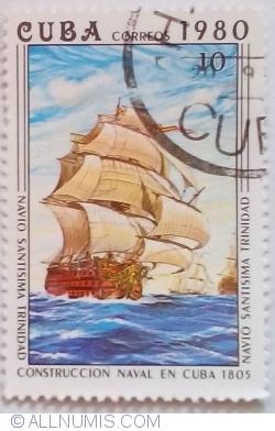 """Image #1 of 10 Centavos 1980 - Corabia """"Santisima Trinidad"""""""