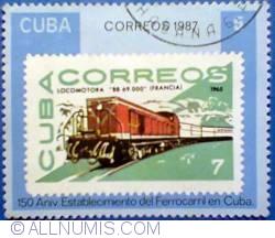 Image #1 of 5 pesos 1987 - Locomotora-Cuban stamp#1061