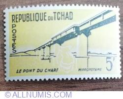 Image #1 of 5 Francs 1961 - Poze și capete de animale - Pod peste Chari, hipopotam