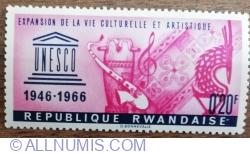 Image #1 of 0.20 Franc 1966 - Aniversarea de 20 de ani a UNESCO - Extinderea vieții culturale și artistice
