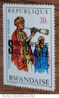 Image #1 of 30 Santimes 1975 - Costume naționale africane - Muzician cu flaut de lemn, Niger