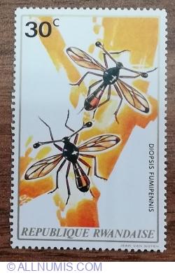 Image #1 of 30 Santime 1973 - Insecte - Muște cu ochii tulpinii (Diopsis fumipennis)