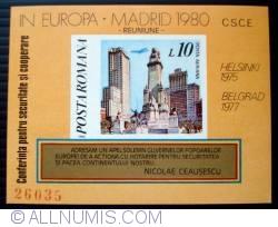 10 Lei - Piata Spaniei din Madrid (colita nedantelata)