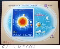 10 Lei - Pozitia planetelor in 1982 (colita nedantelata)