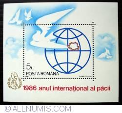 Imaginea #1 a 5 Lei - Porumbel, harta Romaniei si globul pamantesc (colita dantelata)