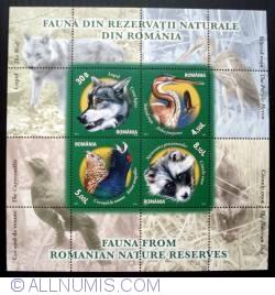 Image #1 of 30b + 4,50L + 5L + 8,10L - Fauna din rezervatii naturale din Romania (bloc de 4 timbre)