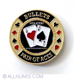 Image #1 of Bullets Poker - Brass Card Protector-pair of aces