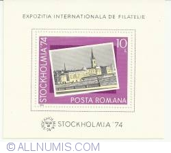 "Imaginea #1 a 1974 - Expozitia Filatelica Internationala ""Stockholmia '74"" - colita dantelata"
