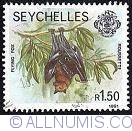 Image #1 of 1.50 Rupees 1982 - Seychelles - Vulpea zburatoare