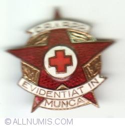 Insigna Crucea Rosie RPR - Evidentiat in Munca