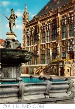 Aachen - Market place with the Charlemagne fountain