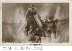 Image #1 of The Nibelungs - Hagen protects Gunther in the burning palace Etzel - Hagen schützt Gunther im brennenden Etzelpalast