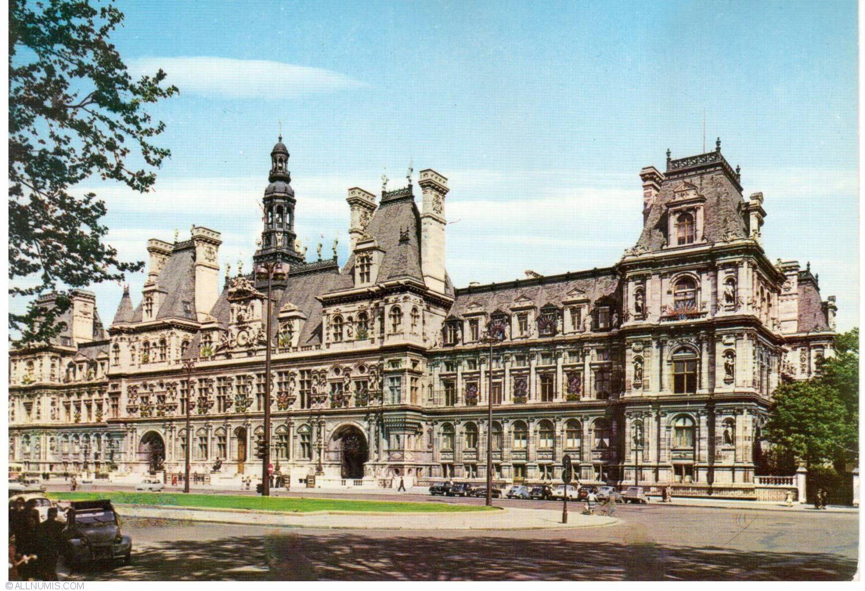 Postcard paris the h tel de ville h tel de ville from for Hotel deville paris