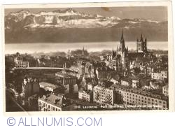 Image #1 of Lausanne - Bessieres Bridge, Cathedral and Alps - Pont Bessieres, Cathédrle et les Alpes
