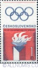 1 Korun 1966 - Olympic Flame and Rings