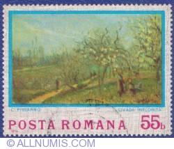 55 Bani 1974 - Impresionismul - C. Pissaro - Livada înflorită