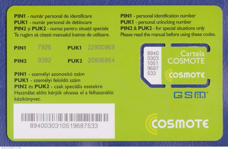 Cosmote - SIM (1), Cosmote - SIM Card - Romania - Token - 1436