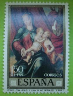 Image #1 of 1.50 Pesetas -Luis de Morales - Virgin with Jesus and John