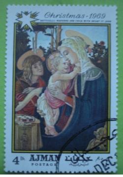 Image #1 of 4 Dirhams 1969 - Botticelli - Fecioara Maria cu Pruncul și Sf. Ioan copil