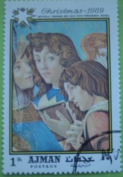 Image #1 of 5 Dirhams 1969 - Botticelli - Madona cu rodia (detaliu)
