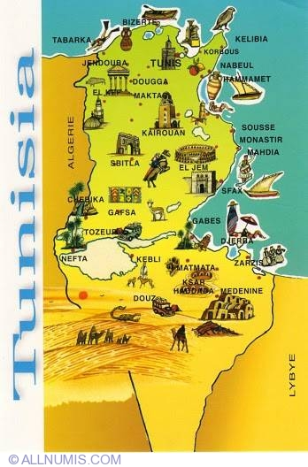 Map Of Tunisia Tourist Tunisia Postcard - Map of tunisia