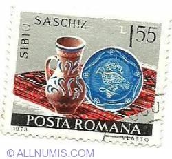 Imaginea #1 a 1.55 Lei 1973 - Ceramică românească - Saschiz (Sibiu)