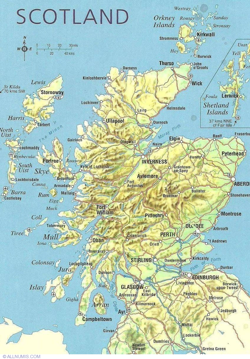 Scotland Map Scotlandtourist Great Britain and UK Postcard – Tourist Map Scotland